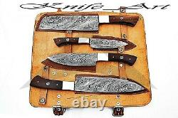 Couteau De Chef À La Main De Damas Acier Tranchant Arête De La Lame Couteau De Cuisine Set