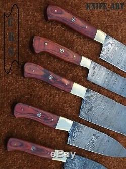 Couteau De Chef Custom Set Et La Main De Damas En Acier Lame Tranchante Couteau De Cuisine Ensemble D'outils