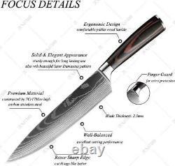 Couteau De Chef De Cuisine De 8pcs En Acier Inoxydable Damas Pattern Sharp Cleaver Cadeau
