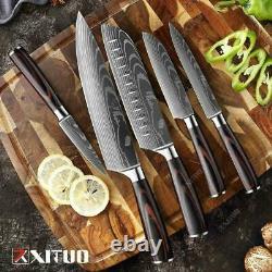 Couteau De Chef De Cuisine Ensemble En Acier Inoxydable Damas Pattern Sharp Cleaver Cadeau