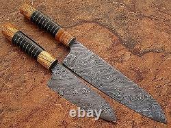 Couteau De Chef En Acier De Damas Sur Mesure Wood Olive & Buffalo Horn 2 Couteaux