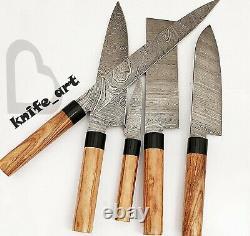 Couteau De Chef Sur Mesure Et À La Main De Damas En Acier Tranchant Cuisine & Steak Set Couteaux