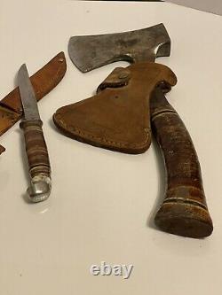 Couteau De Couteau À Lame Fixe Estwing Axe Numéro 1 Ensemble De Gaine En Cuir Vintage Lot