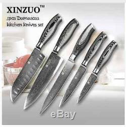 Couteau De Cuisine Cook, Acier De Damas Set Chef Santoku Utility Couteaux Professionnels