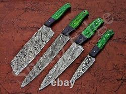 Couteau De Cuisine En Acier De Damas Sur Mesure 4 Pièces Se 109000