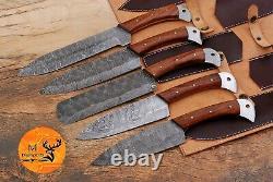 Couteau De Cuisine En Acier Forgé À La Main Damas Avec Poignée En Bois Aj 1767