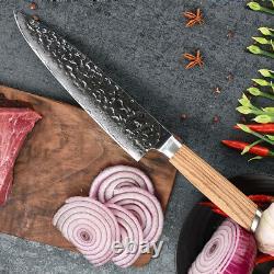 Couteau De Cuisine Ensemble Damas Japonais Vg10 Steel 8'' Chef Santoku Knife Zebrawood