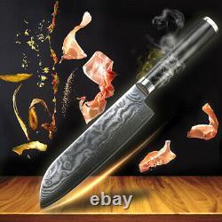 Couteau De Cuisine Ensemble Damas Japonais Vg10 Steel Chef Couteau Santoku Nakiri 5pcs