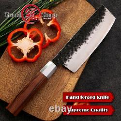 Couteau De Cuisine Fait Main High Carbon Steel Chef Santoku Nakiri Kiritsuke Knife Set
