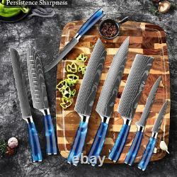 Couteau De Cuisine Japonais Ensemble De Couteau Damas Motif Chef Couteaux 7cr17 Acier Inoxydable