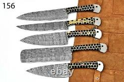 Couteau De Cuisine Personnalisé À La Main Forgé À La Main Damas Steel Chef Set-156