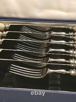 Couteau De Fourche Et Ensemble De Fourche À Étrier Véritable Birks (6) Sheffield Acier Inoxydable Rare