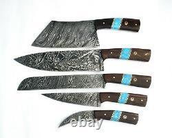 Couteau En Acier De Damas Sur Mesure 5 Pc Avec Poignée En Bois Et Turquoise