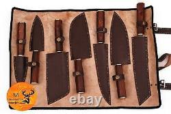 Cuisine Forgée À La Main De Couteau De Chef En Acier De Damas Réglée Avec La Poignée En Bois M 133