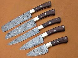 Custom Handmade Damascus Steel Chef Ensemble / Couteaux De Cuisine 5 Pcs, Natural Wood Art