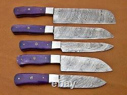 Custom Handmade Damascus Steel Chef Ensemble / Couteaux De Cuisine 5 Pcs, Purple Bone