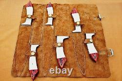 Custom Handmade Damascus Steel Chef Ensemble / Couteaux De Cuisine 6 Pcs Bone Red Sheet