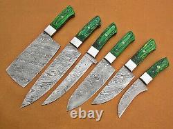 Custom Handmade Damascus Steel Chef Ensemble / Couteaux De Cuisine 6 Pcs, Micarta Vert
