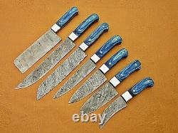 Custom Handmade Damascus Steel Chef Ensemble / Couteaux De Cuisine 7 Pcs Blue Micarta Sheet