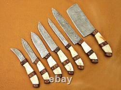 Custom Handmade Damascus Steel Chef Ensemble / Couteaux De Cuisine 7 Pcs Camel Bone, Bois