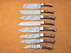 Custom Handmade Damascus Steel Chef Ensemble / Couteaux De Cuisine 8 Pcs Bois Naturel