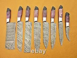 Custom Handmade Damascus Steel Chef Ensemble / Couteaux De Cuisine 8 Pcs Purple Bone, Buffalo