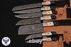 Custom Handmade Damascus Steel Chef Knife Kitchen Set Zs 48