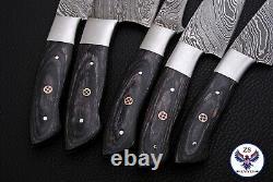 Custom Handmade Damascus Steel Chef Knife Kitchen Set Zs 49