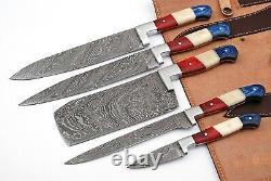 Custom Handmade Full Tang Damascus Steel Chef Knives Kitchen Set Zs 20