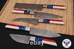 Custom Handmade Full Tang Damascus Steel Chef Knives Kitchen Set Zs 78