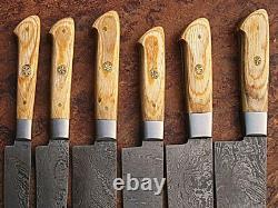 Custom Made Main Lame Damas 6 Pcs Couteau De Cuisine Couteau De Chef Set 071 Brown
