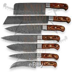 Damas Acier 176 Couche, 7 Pièce Chef Couteau Poignée Pakkwood