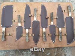 Damas Cerf En Acier Corne Grip Chef De Cuisine Couteaux Set Professionnel De 8 Couteaux