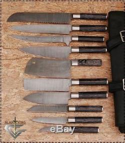 Damas Chef / Cuisine Couteau Fait Sur Mesure Blade 10 Pcs. Ensemble. Ec-1014-blk