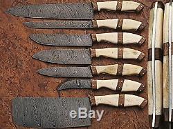 Damas En Acier Sur Mesure Ensemble De Rasoir Couteau De Cuisine Lame Tranchante Pd 1007-7