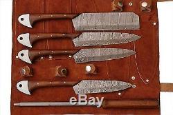 Damas En Acier Sur Mesure Ensemble De Rasoir Couteau De Cuisine Lame Tranchante Pd-1034-5