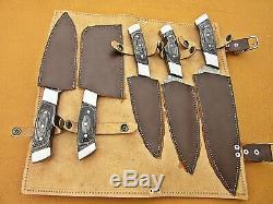 Damas Fait À La Main Personnalisée En Acier Chef Set / Cuisine Couteaux 5 Pcsc Micarta Noir