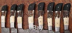 Damas Fait À La Main Sur Mesure En Acier Beau 8pcs. Couteaux De Cuisine Set Ec 09