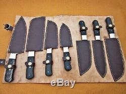 Damas Fait À La Main Sur Mesure En Acier Chef Set / Couteaux De Cuisine 7 Pièces, Corne De Buffle