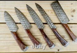 Damascus Steel Gravé Blade Chef Couteau De Cuisine Ensemble Avec Poignée En Bois Aj 1767