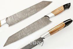 Détails Sur Damascus Chef/kitchen Knife Custom Made Blade 9 Pcs. Set. Mh-10