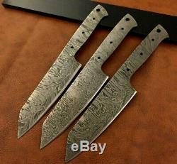 Ensemble De 3 Main De Damas En Acier Chef-cuisine Blank Lame-couteau Making-k18