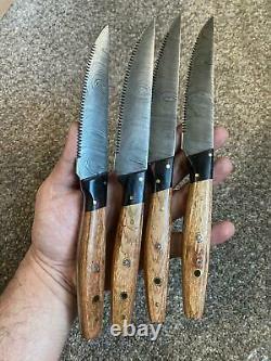 Ensemble De 4-piece Beautiful Handmade Damascus Steel Fixed Blade Steak Knife