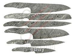 Ensemble De 6 Damas Acier Chef Cuisine Blank Blades Couteau Making Custom Twist Cb14
