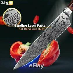Ensemble De 8 Couteaux De Cuisine, Des Lames En Acier Inoxydable, Laser Damas Couteau Chef De Sharp
