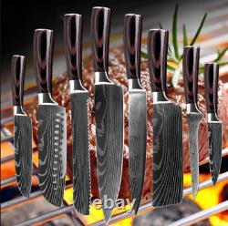 Ensemble De Couteau 8 Chef De Cuisine Japonais Damas Couteaux En Acier Sharp Cleaver Couteau Cadeau