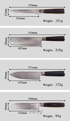 Ensemble De Couteau Complet 67 Couches Damascus Steel Chef Utilitaire Cleaver Couteaux De Cuisine