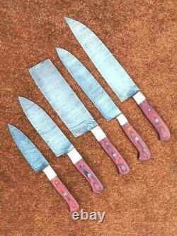 Ensemble De Couteau De 5 Couteaux De Chef, Couteaux De Chef D'acier De Damas Faits À La Main Avec Le Sac En Cuir
