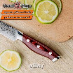 Ensemble De Couteaux 3 Pièces Chef Couteau Japonais Santoku Damas Couteaux De Cuisine En Acier Gaine