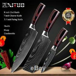 Ensemble De Couteaux 8 Cuisines Japonais Damas Couteaux En Acier De Sharp Couteau Couperet Cadeau